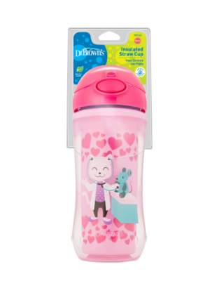 dr brown    10 oz / 300 ml Insulated Straw Cup - Pink (12m ) )