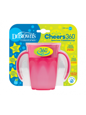 dr brown   Cheers 360 Cup with Handles, 7 oz/250 ml, Pink, 1-Pack