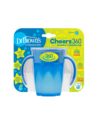 dr brown    Cheers 360 Cup with Handles, 7 oz/250 ml, Blue, 1-Pack