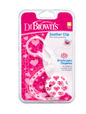 dr brown    Pacifier Tether/Clip - All Plastic - Pink (6)& Blue (6)