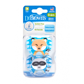 dr brown    PreVent PRINTED SHIELD Pacifier - Stage 1 * 0-6M - Boy Animal Faces (Raccoon& Fox), 2-Pack