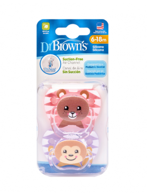 dr brown   PreVent PRINTED SHIELD Pacifier - Stage 2 * 6-12M - Girl Animal Faces (Bear& Monkey), 2-Pack