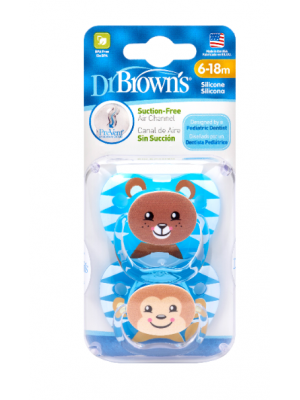 dr brown   PreVent PRINTED SHIELD Pacifier - Stage 2 * 6-12M - Boy Animal Faces (Bear& Monkey), 2-Pack