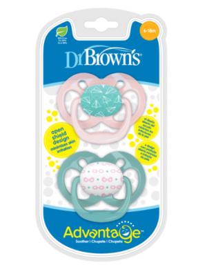 dr brown    Advantage Pacifier - Stage 2, Pink, 2-Pack