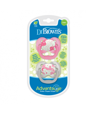 dr brown    Advantage Pacifier - Stage 1, Glow in the Dark - Pink, 2-Pack