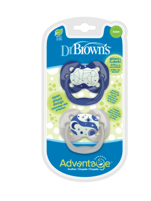 dr brown    Advantage Pacifier - Stage 1, Glow in the Dark - Blue, 2-Pack