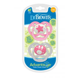 dr brown    Advantage Pacifier - Stage 2, Glow in the Dark - Pink, 2-Pack