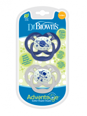 dr brown    Advantage Pacifier - Stage 2, Glow in the Dark - Blue, 2-Pack
