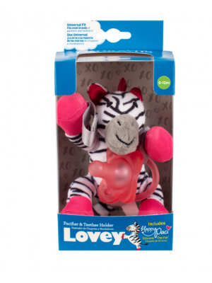 dr brown   Zebra Lovey with Pink One-Piece Pacifier