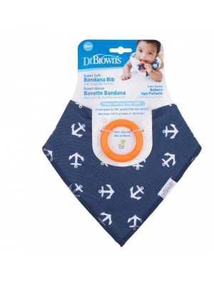 dr brown    Bandana Bib w/ Teether, 1-Pack, Anchors (Blue with Orange Teether)