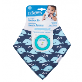 dr brown   Bandana Bib w/ Teether, 1-Pack, Whales (Blue with Turquoise Teether)