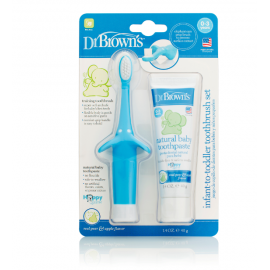 dr brown    Infant-to-Toddler Toothbrush, Toothpaste Combo Pack, Blue