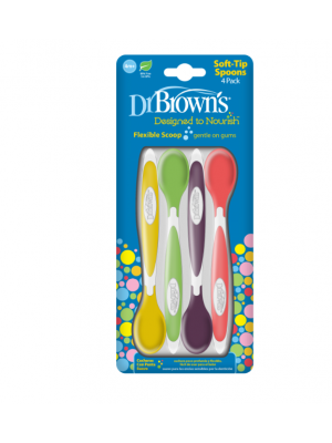 dr brown     Soft-Tip Spoon, 4-Pack (Yellow, Green, Purple, Red)