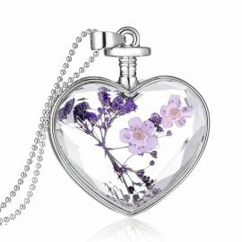 BLACK IRIS ACCESSORIES | Glass Heart Pendant with Real Dried Flowers in 14K White Gold overlay