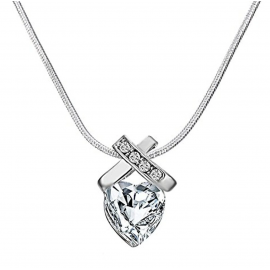 BLACK IRIS ACCESSORIES | 6 CTW Infinity Heart Necklace Made with Swarovski CrystalsSterling Silver Overlay
