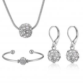 BLACK IRIS ACCESSORIES | 3 Piece Fireball Set Necklace, Earrings, Bracelet made with Swarovski Crystals
