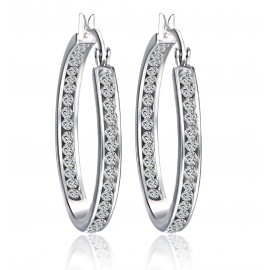 BLACK IRIS ACCESSORIES | Inside Outside Hoop Earrings made with Swarovski elements