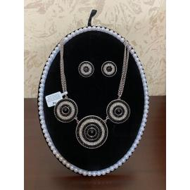 BLACK IRIS ACCESSORIES | Black Crystal Circle Necklace and Earring Set- JTV ( Jewelry Television)