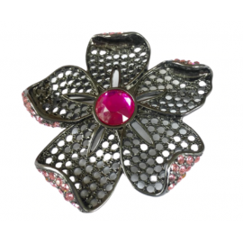 BLACK IRIS ACCESSORIES | Flower Brooch w/ Swarovski Crystals