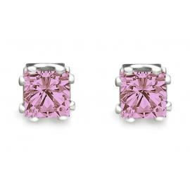 BLACK IRIS ACCESSORIES |  Princess Cut Pink CZ Stud Earrings2 Carats