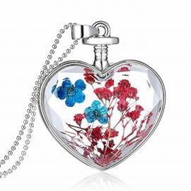 BLACK IRIS ACCESSORIES |  Glass Heart Pendant with Real Dried Flowers in 14K White Gold